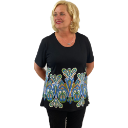 Ikat Pattern Black Short Sleeve Swing Top, by A Walk In The Park®