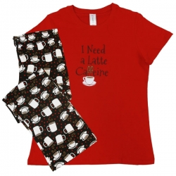 "Women's ""I Need Caffeine' Pajama Sleepwear Set, by Needy Me Sleepwear®"