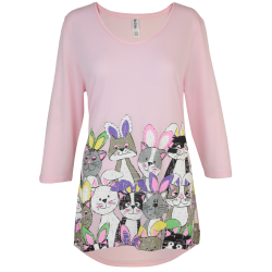 Hoppy Cats 3/4 Sleeve Swing Top