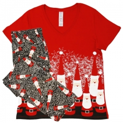Women's 'Bowling Pin Santa' Holiday Pajama Set, by Needy Me Sleepwear®