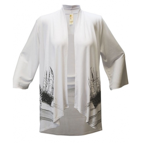Beach Fence 3/4 Sleeve Kimono White, by A Walk In The Park®