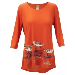 Women's 'Sandpipers' 3/4 Sleeve Swing Top, Printed on Flamingo Orange, by A Walk In The Park®