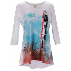Women's 'Lighthouse' 3/4 Sleeve Swing Top, Printed on White, by A Walk In The Park®