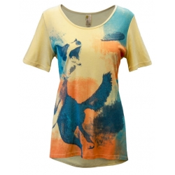 Women's 'Frisbee Dog' Short Sleeve Swing Top, Printed on Bleached Sand, by A Walk In The Park®