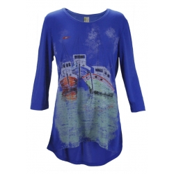 Women's 'Safe Harbor' 3/4 Sleeve Swing Top, Printed on Daphne, by A Walk In The Park®