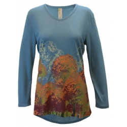 Women's 'Colorful Trees' V-Neck Long Sleeve Swing Top, Printed on Bluestone, by A Walk In The Park®