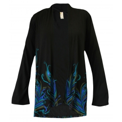 Proud Peacok - Black Long Sleeve Kimono