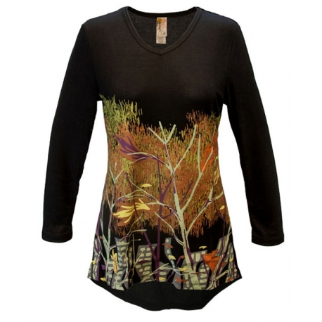 Women's 'Reflections' V-Neck Long Sleeve Swing Top, Printed on Black, by A Walk In The Park®