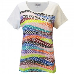 Women's 'Ribbon Hills' Cancer Awareness T-Shirt, Printed on White, by Live For Life Hope For All®