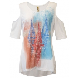 Women's 'Sailboats' Cold Shoulder Swing Top, Printed on White, by A Walk In The Park®