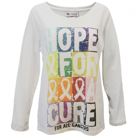 'Hope For A Cure Block' Cancer Awareness Long Sleeve T-Shirt, Printed on White, by Live For Life Hope For All®