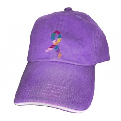 'Ribbon' Cancer Awareness Ball Cap, Embroidered on Purple, by Live For Life Hope For All®