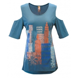 Women's 'Ikat Skyline' Cold Shoulder Swing Top, Printed on Bluestone, by A Walk In The Park®