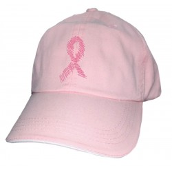 'Pink Ribbon' Women's Breast Cancer Ball Cap, Embroidered on Pink, by Live For Life Hope For All®