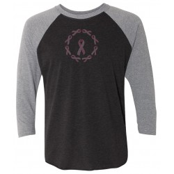'BC Circle Of Hope' Women's Breast Cancer 3/4 Sleeve Raglan Tee, Embroidered by Live For Life Hope For All®