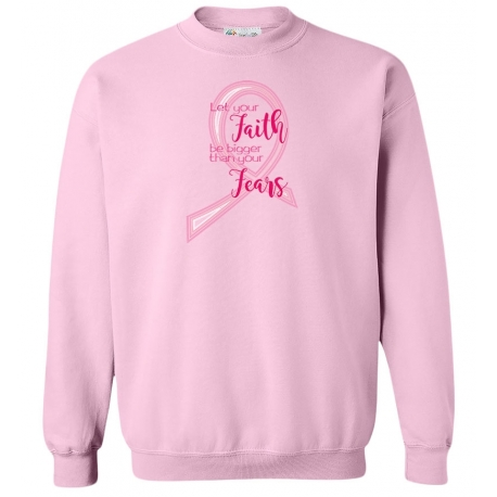 'Faith Fears' Women's Breast Cancer Crewneck Fleece, Embroidered on Pink, by Live For Life Hope For All®