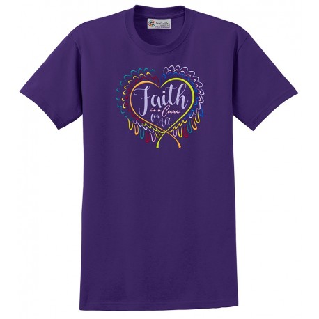 'Faith' Cancer Awareness T-Shirt, Embroidered on Purple, by Live For Life Hope For All®