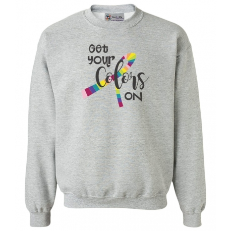 'Colors On' Cancer Awareness Crewneck Fleece, Embroidered on Sport Grey, by Live For Life Hope For All®
