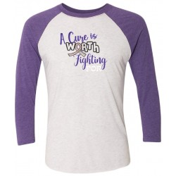 'Worth Fighting' Cancer Awareness 3/4 Sleeve Raglan Tee, Embroidered, by Live For Life Hope For All®