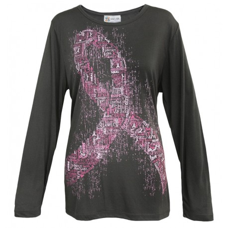 'Word Ribbon' Women's Breast Cancer Long Sleeve Cancer Awareness Shirt, by Live For Life Hope For All®