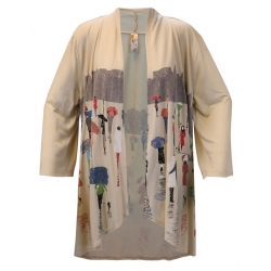 Women's 'Rainy Day People' 3/4 Sleeve Kimono, Printed on Bleached Sand, by A Walk In The Park®