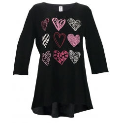 Women's 'Heart Sampler' Valentines 3/4 Sleeve Swing Top, Printed on Black, by Mac & Belle®