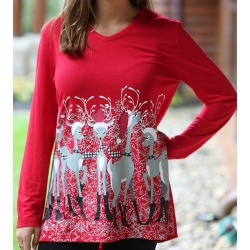 Women's 'Santa Deer' Long Sleeve Holiday Swing Top, by Mac & Belle®