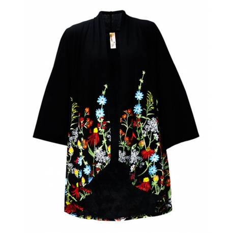 Fresh Picked 3/4 Sleeve Kimono Black, by A Walk In The Park®