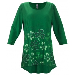 Women's 'Scattered Shamrocks' 3/4 Sleeve Swing Top, Printed on Jelly Bean Green, by Mac & Belle®