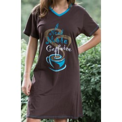 Women's 'Caffeine' V-Neck Sleep Shirt Nightgown, by Needy Me Sleepwear®