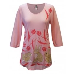 Women's 'Bunnies In Field' Spring 3/4 Sleeve Swing Top, Printed on Pink, by Mac & Belle®