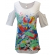 Tropical Spray Cold Shoulder Tunic Top, by Mac & Belle®