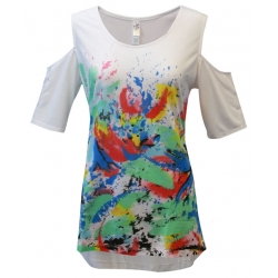 Women's 'Tropical Spray' Cold Shoulder Swing Top, Printed on White,  by Mac & Belle®