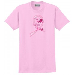 'Faith Fears' Women's Breast Cancer T-Shirt, Embroidered on Pink, by Live For Life Hope For All®