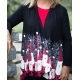 Women's 'Bowling Pin Santa' Long Sleeve Holiday Kimono, Printed on Black or Tango Red, by A Walk In The Park®