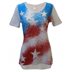 Women's 'Spray Paint Flag' Short Sleeve Swing Top, by Mac & Belle®