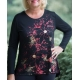 Women's 'Splatter Poinsettia' Long Sleeve Holiday Swing Top, by Mac & Belle®