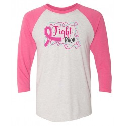 'Fight Back' Women's Breast Cancer 3/4 Sleeve Raglan Tee, Embroidered, by Live For Life Hope For All®