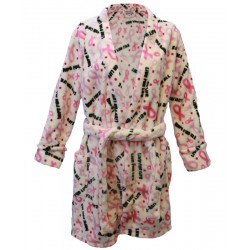 Women's 'Pink Ribbon' Breast Cancer Robe, Minky Fleece, Women's, by Live For Life Hope For All®