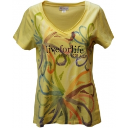 Women's 'Painted Ribbon Wheels' Cancer Awareness V-Neck T-Shirt, Printed on Buttercup, by Live For Life Hope For All®