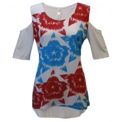 Women's Patriotic 'Tye Dye Stars' Cold Shoulder Short Sleeve Swing Top, by Mac & Belle®