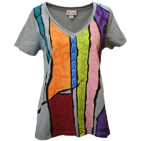 'Stained Glass Ribbons' Women's Cancer Awareness T-Shirt, Printed on Quarry, by Live For Life Hope For All®