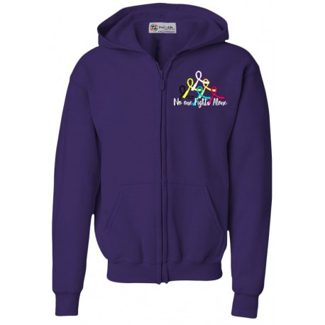 'No One Fights Alone' Cancer Awareness Hoody Zip Front Fleece, Embroidered on Purple, by Live For Life Hope For All®