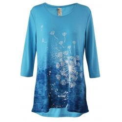 Women's 'Dandelion Wind' 3/4 Sleeve Swing Top, Printed on Harbor Blue, by A Walk In The Park®