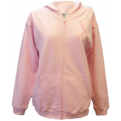 'Go Pink Go Strong' Women's Breast Cancer Zip Front Fleece, Embroidered on Pink, by Live For Life Hope For All®