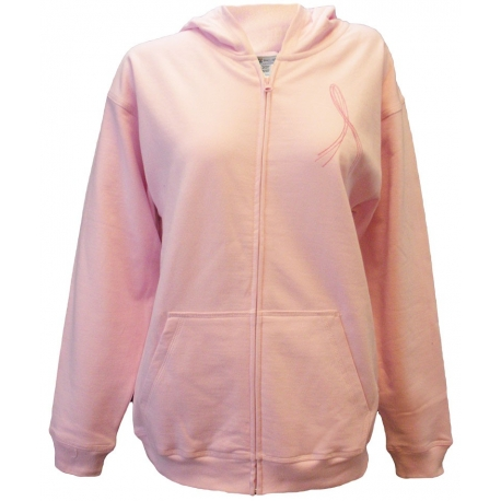 Women's 'Go Pink Go Strong' Breast Cancer Zip Front Fleece, Embroidered on Pink, by Live For Life Hope For All®