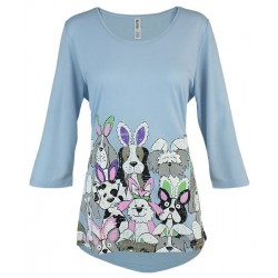 Hoppy Dogs 3/4 Sleeve Swing Top Tunic - Mac & Belle