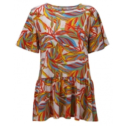 Tropical Foliage Ruffle Sleeve Tunic Top, by A Walk In The Park®