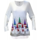 Bowling Pin Snowmen Women's Holiday Swing Top, by Mac & Belle