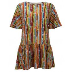 Women's 'Colorful Stripes' Ruffle Sleeve Tunic, Printed, by A Walk In The Park®